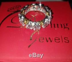 Bague Éternité Vintage Avec Diamants Taille Ronde Ronde De 4 Ct, Finition En Or Blanc 14k