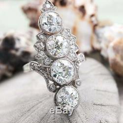 Bague Fin Rétro Vintage Antique Engagement Ring 4 Ct Diamant Or Blanc 14k Plus