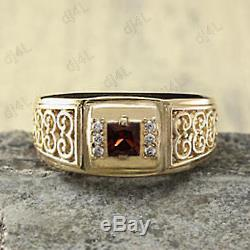 Bague Pour Homme Vintage Avec Diamants Et Princesse De 2,10 Ct En Or Jaune 14k