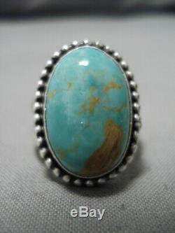 Bague Supérieure Vintage Vintage Navajo En Forme De Dôme Royston En Argent Sterling