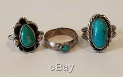 Bague Vintage En Argent Sterling Amérindien Lot Turquoise