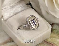 Bague Vintage Sterling Argent En Or Avec Des Saphirs Blancs Bleus Bijoux Antiques 8