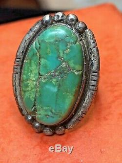Bague Vintage Sterling Turquoise Navajo Amérindienne Vieux Pion Signé Ramona