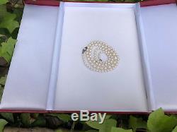 Beau Millésime Mikimoto 20 Collier De Perles Ss Fermoir Gradué 3.5mm-7mm
