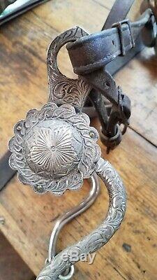 Beaux Vtg Western Sterling Argent Concho Fantaisie Texas Cowboy Horse Show Bridle Bit