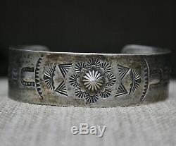 Belle Harvey Vintage Era Navajo En Argent Sterling Bracelet