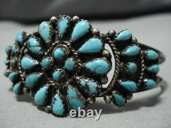 Belle Vintage Navajo Turquoise Bracelet En Argent Sterling Amérindien Vieux