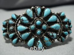 Belle Vintage Navajo Turquoise Sterling Silver Native American Bracelet Old