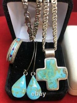 Bijoux En Argent Sterling Vintage Lot Sud-ouest Bague Boucle D'oreille Croix Turquoise