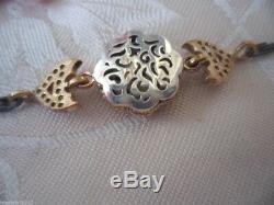 Bijoux Vintage Antique Sterling Bracelet D'argent Avec De L'or Accents Et Saphirs