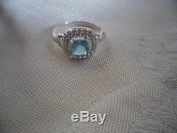 Bijoux Vintage Bague En Argent Sterling Aquamarine Sapphire Antique Deco Bijoux