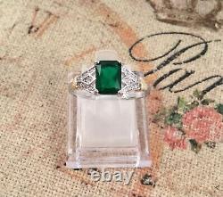 Bijoux Vintage En Argent Bague En Or Émeraude Blanc Saphirs Antiques Bijoux Déco