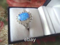 Bijoux Vintage Sterling Silver Opal Ring White Sapphires Antique Jewelry