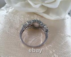 Bijoux Vintage Sterling Silver Ring Opals Aquamarines Antique Deco Jewelry