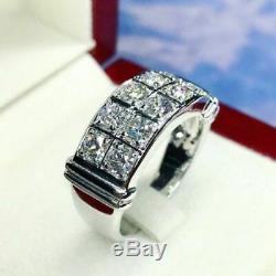 Blanc 14k Vintage Estate Hommes D'or Fn Ronde 1.50ct Diamant Bague De Mariage