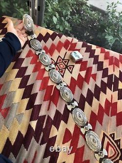 Bon! Vintage Stamped Sterling Silver Navajo Southwest Concho Belt Par D Reeves