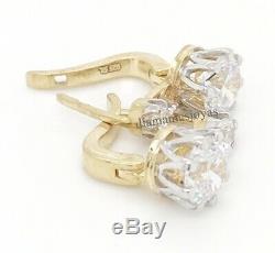 Boucle D'oreille Avec Serrure Anglaise En Or 14 Carats Sur Diamant Blanc Rond 4.00ct