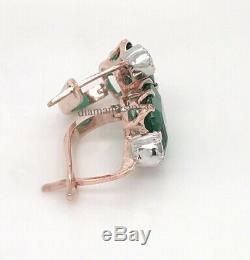 Boucle D'oreille En Or 14 Carats Avec Fermoir Anglais Vintage 2.50ct En Diamants Vert Émeraude Art Deco