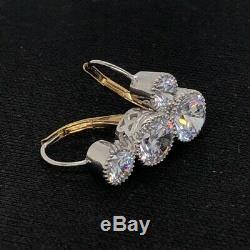Boucle D'oreille Rétro En Or 14 Carats Avec Diamants Ronds Vintage Art Déco De 2,5 Ct