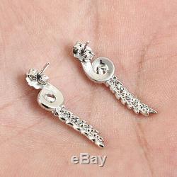 Boucle D'oreille Vintage Pour Femme, Finition En Or Blanc 14k, Diamant Taille Ronde De 0,50 Carat