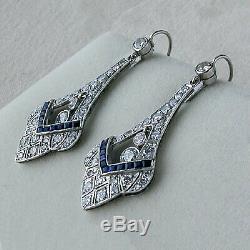 Boucles D'oreille Dormeuses Art Déco En Or Blanc 14 K Avec Diamants De 1,30 Ct, Saphir Et Or Blanc