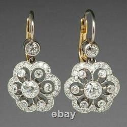 Boucles D'oreilles 2 Ct Antique Vintage Art Déco Diamant Halo 1930s Finition Or Blanc 14k