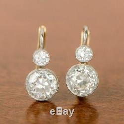 Boucles D'oreilles Antique Vintage Art Déco Or Blanc 14k Plus De 2 Ctw Diamant Halo 1920