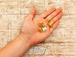 Boucles D'oreilles Antique Vintage Deco Sterling Silver Gold Filigrane Portugais Floral