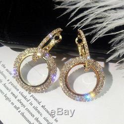 Boucles D'oreilles Créoles Rondes Avec Diamants Taille Ronde De 20 Carats, Or Rose 14k