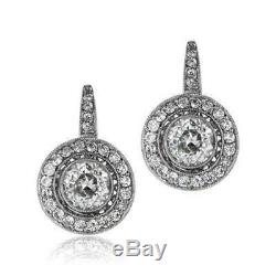 Boucles D'oreilles Fines Vintage Halo 2 De Mariage Boucles D'oreilles Ct Diamant Rond En Or Blanc 14k Fn