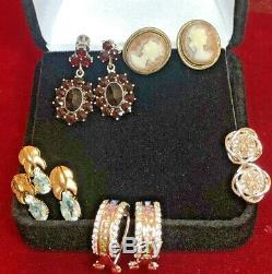 Boucles D'oreilles Lot Vintage En Argent Sterling Camée Antique Diamant Aigue-marine