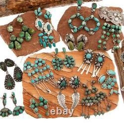 Boucles D'oreilles Navajo Turquoise Natura Cluster Sterling Silver Vintage Dangle Platero