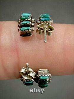 Boucles D'oreilles Zuni Silver Sterling Vintage Point D'aiguille Turquoise Mint