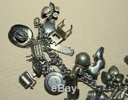 Bracelet À Breloques Americana En Argent Sterling Du Collectionneur Des Années 1940 Avec 33 Breloques