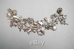 Bracelet À Breloques Vintage En Argent Sterling, Argent Sterling Poinçonné, 39 Breloques