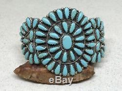 Bracelet À Manchette Vintage Paul Jones Navajo Sterling Petit Point Avec Turquoise