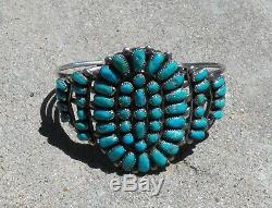 Bracelet À Manchette Vintage Turquoise, Pion, Amérindien, Argent Sterling