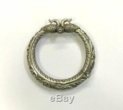 Bracelet Antique Vintage Ethnique Tribal Vieil Argent Paon Charnière Jonc Rajasthan