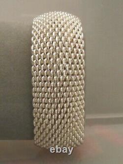 Bracelet Bracelet En Maille Vtg Wide Tiffany & Co. Somerset Sterling Silver Heavy 120g