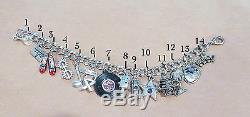 Bracelet Charme Vintage Hollywood Los Angeles California Sterling 8 Mobile
