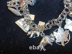 Bracelet De Charme En Argent Sterling Vintage Chargé! 16 Charmes 3-d 45 Grammes