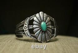 Bracelet De Manchette Turquoise Vintage Fred Harvey Era Navajo Sterling Silver