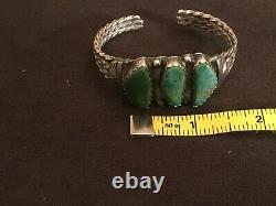 Bracelet De Manchette Turquoise Vintage Native Navajo Sterling Silver