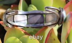 Bracelet De Manchette Turquoise Vintage Phenomenal Fred Harvey Era Southwestern Sterling