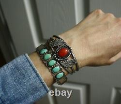 Bracelet De Manchette Vintage Native American Harvey Era Turquoise Sterling Silver