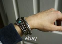 Bracelet De Manchette Vintage Native American Navajo Stamped Sterling Silver
