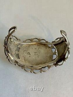Bracelet De Manchette Vintage Native American Navajo Sterling Silver Turquoise Cluster
