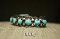 Bracelet De Manchette Vintage Native American Navajo Turquoise Sterling Silver