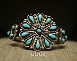 Bracelet De Manchette Vintage Native American Zuni Turquoise Sterling Silver Cluster