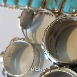 Bracelet En Argent Sterling 925 Avec 5 Anneaux De Corail En Lapis Turquoises Lot